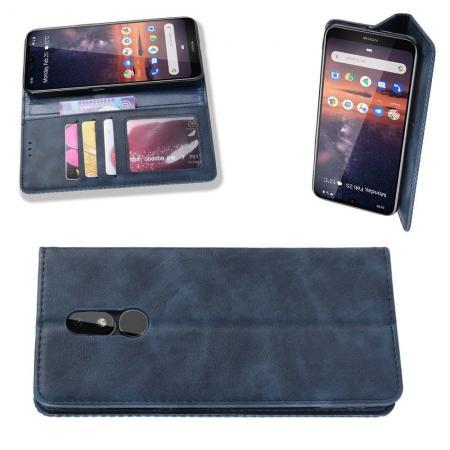 Тонкий Флип Чехол Книжка с Скрытым Магнитом и Отделением для Карты для Nokia 3.2 Синий
