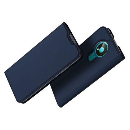Тонкий Флип Чехол Книжка с Скрытым Магнитом и Отделением для Карты для Nokia 3.4 Синий