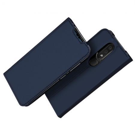 Тонкий Флип Чехол Книжка с Скрытым Магнитом и Отделением для Карты для Nokia 4.2 Синий