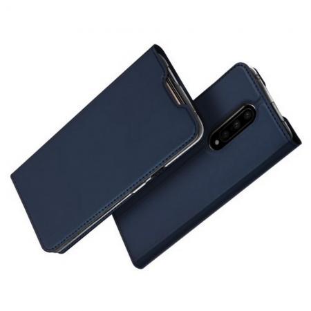 Тонкий Флип Чехол Книжка с Скрытым Магнитом и Отделением для Карты для OnePlus 7 Pro Синий