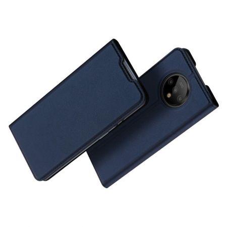 Тонкий Флип Чехол Книжка с Скрытым Магнитом и Отделением для Карты для OnePlus 7T Синий