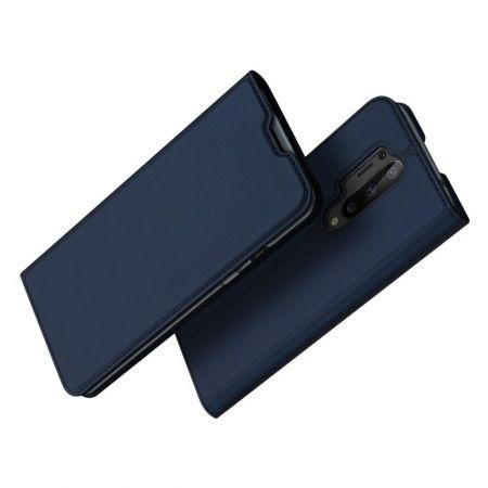 Тонкий Флип Чехол Книжка с Скрытым Магнитом и Отделением для Карты для OnePlus 8 Pro Синий