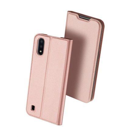 Тонкий Флип Чехол Книжка с Скрытым Магнитом и Отделением для Карты для Samsung Galaxy A01 Розовый