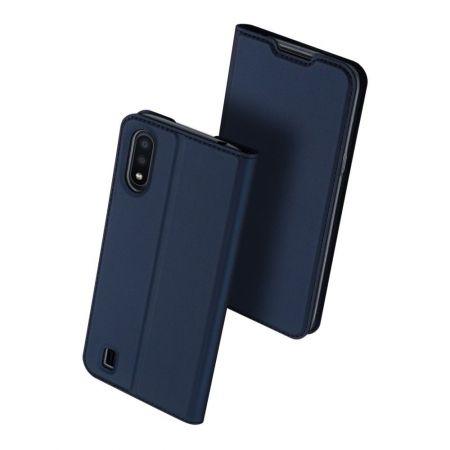 Тонкий Флип Чехол Книжка с Скрытым Магнитом и Отделением для Карты для Samsung Galaxy A01 Синий
