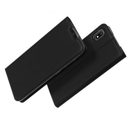 Тонкий Флип Чехол Книжка с Скрытым Магнитом и Отделением для Карты для Samsung Galaxy A10 Черный