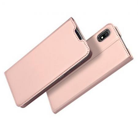 Тонкий Флип Чехол Книжка с Скрытым Магнитом и Отделением для Карты для Samsung Galaxy A10 Розовое Золото