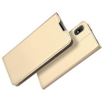 Тонкий Флип Чехол Книжка с Скрытым Магнитом и Отделением для Карты для Samsung Galaxy A10 Золотой