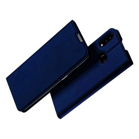 Тонкий Флип Чехол Книжка с Скрытым Магнитом и Отделением для Карты для Samsung Galaxy A10s Синий