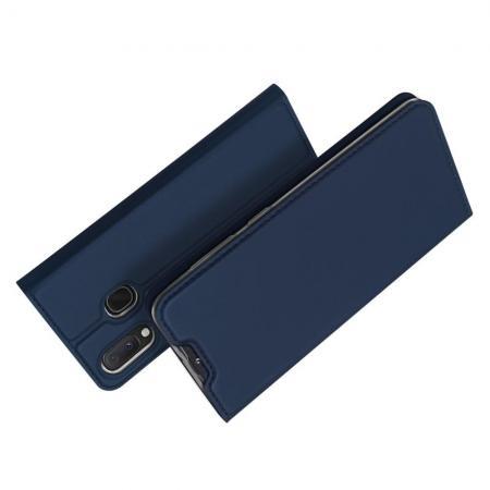 Тонкий Флип Чехол Книжка с Скрытым Магнитом и Отделением для Карты для Samsung Galaxy A20e Синий