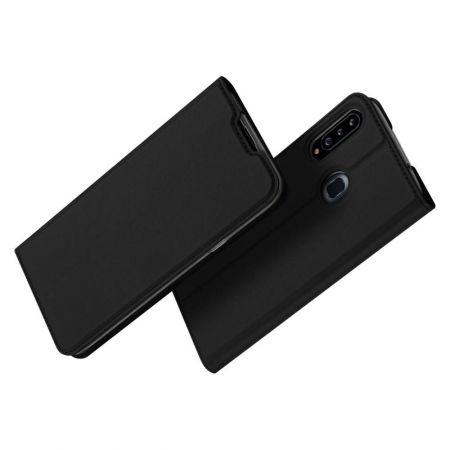 Тонкий Флип Чехол Книжка с Скрытым Магнитом и Отделением для Карты для Samsung Galaxy A20s Черный