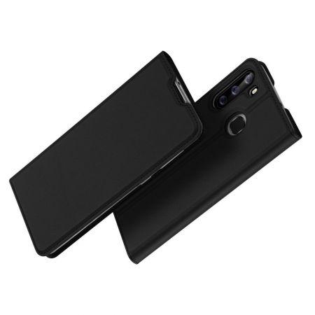 Тонкий Флип Чехол Книжка с Скрытым Магнитом и Отделением для Карты для Samsung Galaxy A21 Черный