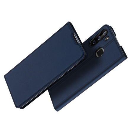 Тонкий Флип Чехол Книжка с Скрытым Магнитом и Отделением для Карты для Samsung Galaxy A21 Синий