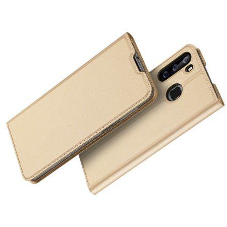 Тонкий Флип Чехол Книжка с Скрытым Магнитом и Отделением для Карты для Samsung Galaxy A21 Золотой