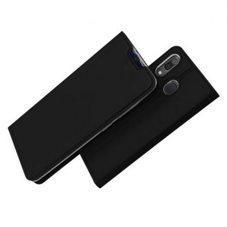 Тонкий Флип Чехол Книжка с Скрытым Магнитом и Отделением для Карты для Samsung Galaxy A30 / A20 Черный