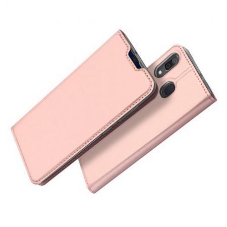 Тонкий Флип Чехол Книжка с Скрытым Магнитом и Отделением для Карты для Samsung Galaxy A30 / A20 Розовое Золото