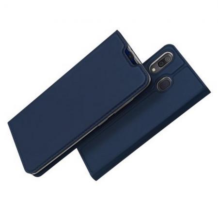 Тонкий Флип Чехол Книжка с Скрытым Магнитом и Отделением для Карты для Samsung Galaxy A30 / A20 Синий