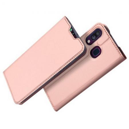 Тонкий Флип Чехол Книжка с Скрытым Магнитом и Отделением для Карты для Samsung Galaxy A40 Розовое Золото