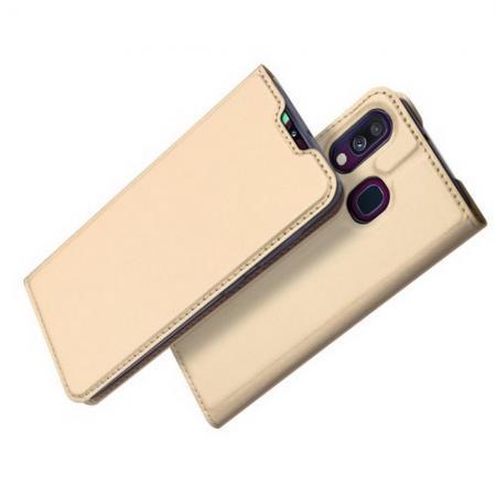 Тонкий Флип Чехол Книжка с Скрытым Магнитом и Отделением для Карты для Samsung Galaxy A40 Золотой
