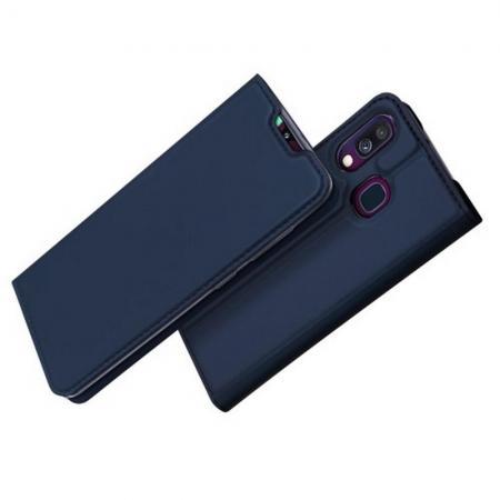 Тонкий Флип Чехол Книжка с Скрытым Магнитом и Отделением для Карты для Samsung Galaxy A40 Синий