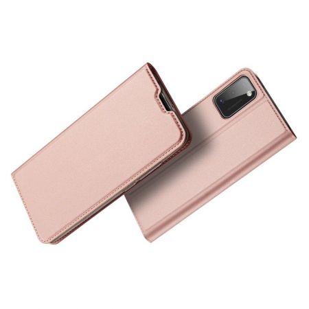 Тонкий Флип Чехол Книжка с Скрытым Магнитом и Отделением для Карты для Samsung Galaxy A41 Розовый