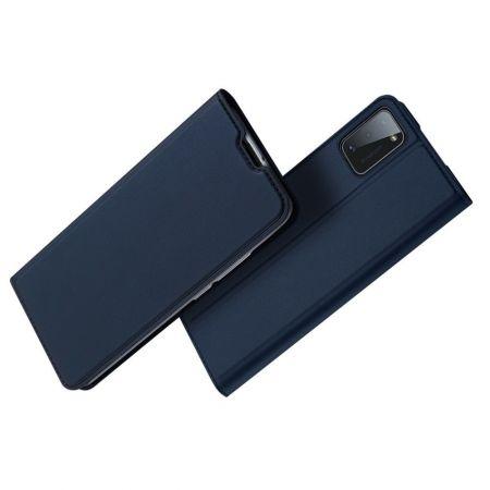 Тонкий Флип Чехол Книжка с Скрытым Магнитом и Отделением для Карты для Samsung Galaxy A41 Синий