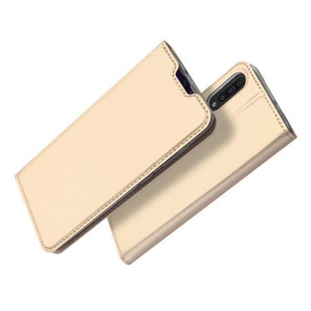 Тонкий Флип Чехол Книжка с Скрытым Магнитом и Отделением для Карты для Samsung Galaxy A50 Золотой