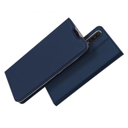 Тонкий Флип Чехол Книжка с Скрытым Магнитом и Отделением для Карты для Samsung Galaxy A50 Синий