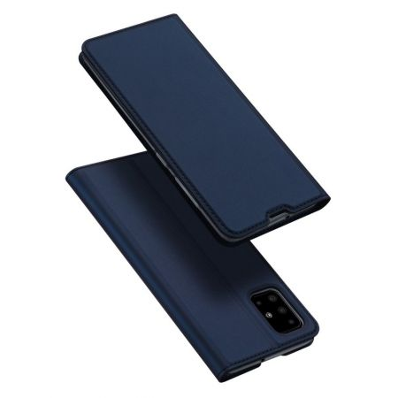 Тонкий Флип Чехол Книжка с Скрытым Магнитом и Отделением для Карты для Samsung Galaxy A51 Синий