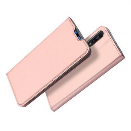 Тонкий Флип Чехол Книжка с Скрытым Магнитом и Отделением для Карты для Samsung Galaxy A70 Розовое Золото