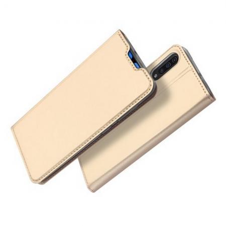 Тонкий Флип Чехол Книжка с Скрытым Магнитом и Отделением для Карты для Samsung Galaxy A70 Золотой