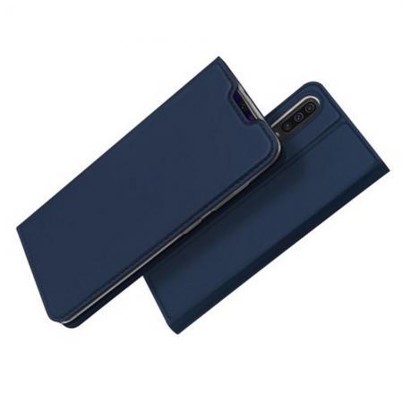 Тонкий Флип Чехол Книжка с Скрытым Магнитом и Отделением для Карты для Samsung Galaxy A70 Синий
