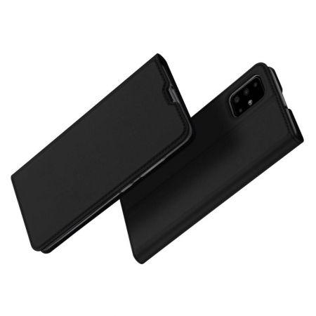 Тонкий Флип Чехол Книжка с Скрытым Магнитом и Отделением для Карты для Samsung Galaxy A71 Черный