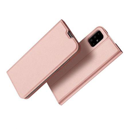 Тонкий Флип Чехол Книжка с Скрытым Магнитом и Отделением для Карты для Samsung Galaxy A71 Розовый