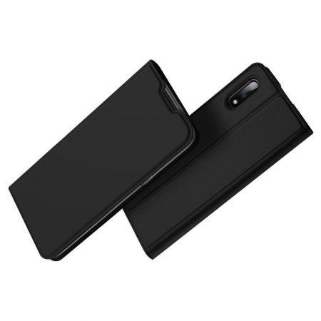 Тонкий Флип Чехол Книжка с Скрытым Магнитом и Отделением для Карты для Samsung Galaxy M01 Черный