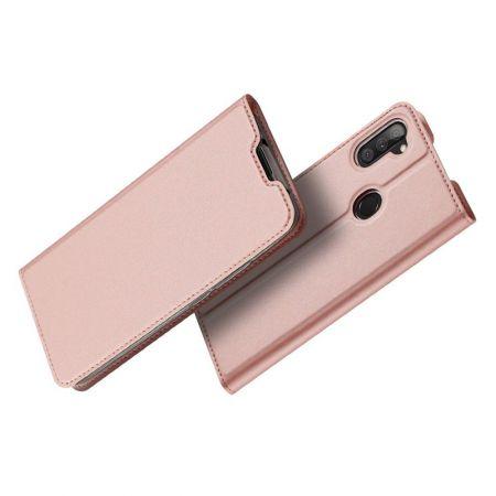 Тонкий Флип Чехол Книжка с Скрытым Магнитом и Отделением для Карты для Samsung Galaxy M11 Розовый