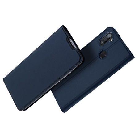 Тонкий Флип Чехол Книжка с Скрытым Магнитом и Отделением для Карты для Samsung Galaxy M11 Синий