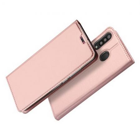 Тонкий Флип Чехол Книжка с Скрытым Магнитом и Отделением для Карты для Samsung Galaxy M30 Розовое Золото