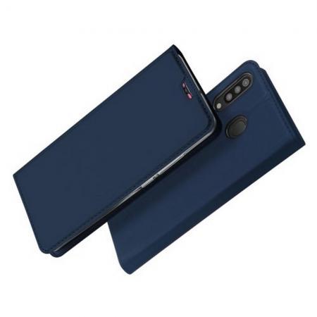 Тонкий Флип Чехол Книжка с Скрытым Магнитом и Отделением для Карты для Samsung Galaxy M30 Синий