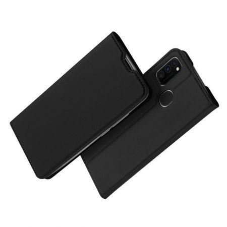 Тонкий Флип Чехол Книжка с Скрытым Магнитом и Отделением для Карты для Samsung Galaxy M30s Черный