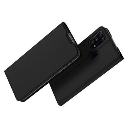 Тонкий Флип Чехол Книжка с Скрытым Магнитом и Отделением для Карты для Samsung Galaxy M31 Черный