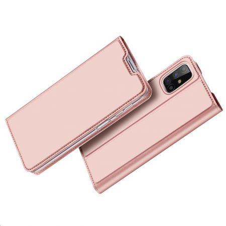 Тонкий Флип Чехол Книжка с Скрытым Магнитом и Отделением для Карты для Samsung Galaxy M31s Розовый