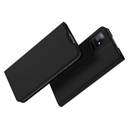 Тонкий Флип Чехол Книжка с Скрытым Магнитом и Отделением для Карты для Samsung Galaxy M51 Черный