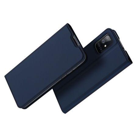Тонкий Флип Чехол Книжка с Скрытым Магнитом и Отделением для Карты для Samsung Galaxy M51 Синий