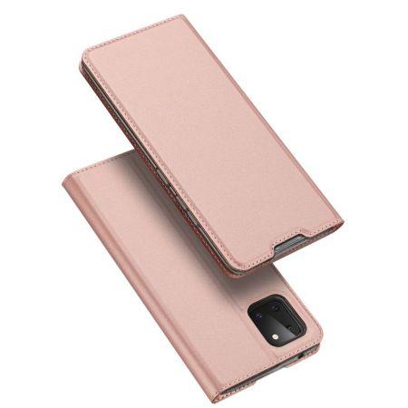 Тонкий Флип Чехол Книжка с Скрытым Магнитом и Отделением для Карты для Samsung Galaxy Note 10 Lite Розовый