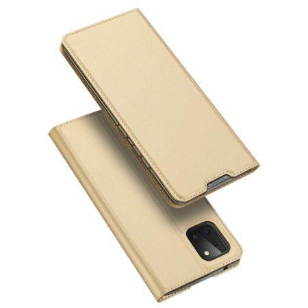 Тонкий Флип Чехол Книжка с Скрытым Магнитом и Отделением для Карты для Samsung Galaxy Note 10 Lite Золотой