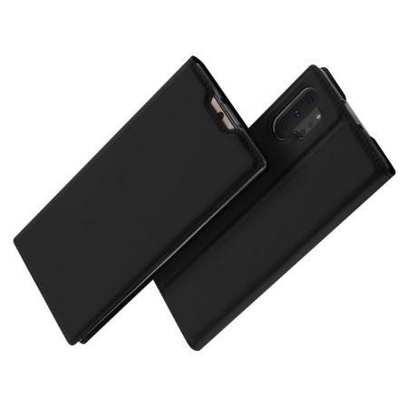 Тонкий Флип Чехол Книжка с Скрытым Магнитом и Отделением для Карты для Samsung Galaxy Note 10 Plus Черный