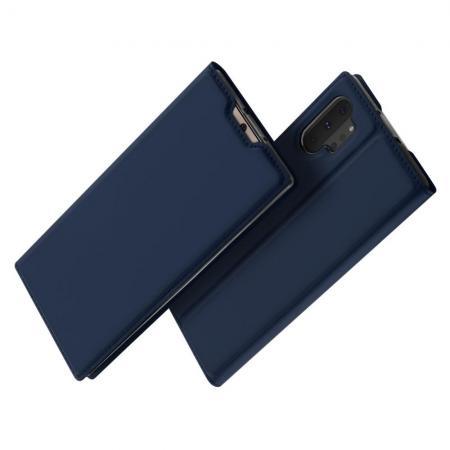 Тонкий Флип Чехол Книжка с Скрытым Магнитом и Отделением для Карты для Samsung Galaxy Note 10 Plus Синий