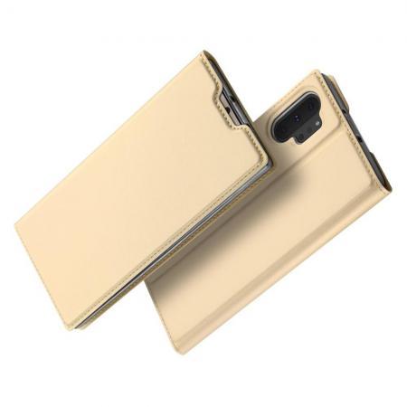 Тонкий Флип Чехол Книжка с Скрытым Магнитом и Отделением для Карты для Samsung Galaxy Note 10 Plus Золотой