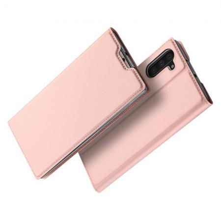 Тонкий Флип Чехол Книжка с Скрытым Магнитом и Отделением для Карты для Samsung Galaxy Note 10 Розовое Золото