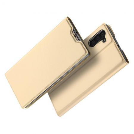 Тонкий Флип Чехол Книжка с Скрытым Магнитом и Отделением для Карты для Samsung Galaxy Note 10 Золотой